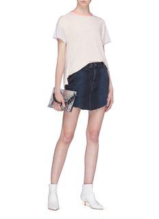 GRLFRND Tina Good Vibes车缝线流苏拼接设计牛仔半裙