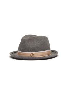 MAISON MICHEL Ygor人字纹拼色帽带兔毛毡帽