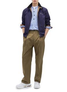 LANVIN 按扣设计褶裥斜纹布长裤