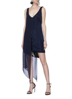 Galvan London Serpentine雪纺外层亮片点缀不对称连衣裙