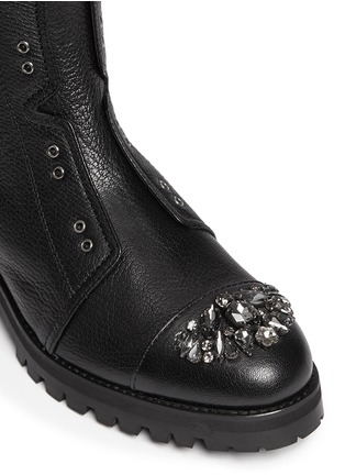 细节 - 点击放大 - JIMMY CHOO - 仿水晶装饰真皮机车靴