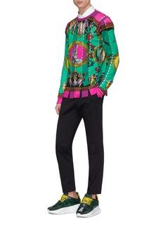 Versace 镂空条纹神话印花羊毛针织衫