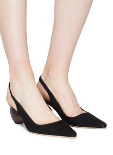Rejina Pyo Margot蛋型粗跟绒面山羊皮尖头鞋