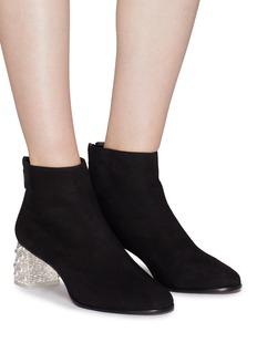 SOPHIA WEBSTER Stella仿水晶及人造珍珠粗跟绒面真皮短靴