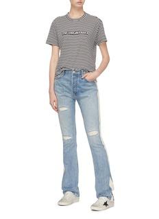 SANDRINE ROSE 侧条纹磨破高腰水洗喇叭牛仔裤