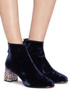 SOPHIA WEBSTER Stella仿水晶粗跟天鹅绒短靴