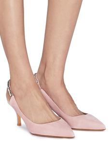 Valentino 仿水晶后绊带绒面真皮尖头露跟鞋