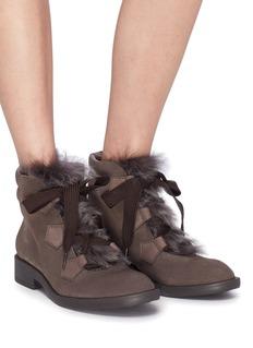 PEDRO GARCÍA Kani小羊皮毛一体拼接绒面真皮战斗靴