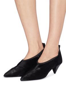 Alumnae 几何鞋跟小牛毛尖头鞋