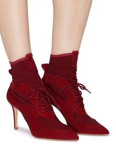 GIANVITO ROSSI 针织拼接绒面皮系带高跟短靴
