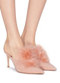 GIANVITO ROSSI Costance鹳羽毛点缀绒面真皮高跟穆勒鞋