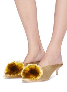 AQUAZZURA Powder Puff流苏毛球天鹅绒穆勒鞋
