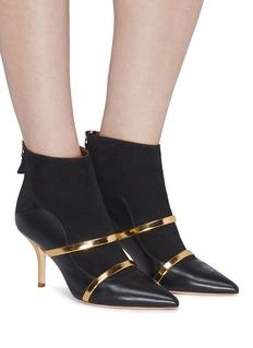 Malone Souliers Madison双重镜面搭带拼接设计真皮高跟踝靴