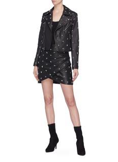 alice + olivia Fidela金属五角星铆钉褶裥小羊皮半裙