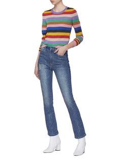 alice + olivia Rhodes彩虹条纹混羊毛短款针织上衣