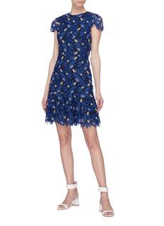 alice + olivia Imani仿水晶镂空花卉蕾丝连衣裙