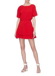 alice + olivia Palmira双层荷叶边下摆绉绸连衣裙