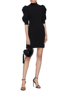 alice + olivia Brenna泡泡袖立领绉绸连衣裙
