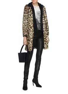 alice + olivia Kylie可拆式兜帽豹纹人造皮毛大衣
