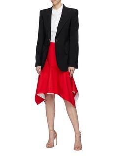 Calvin Klein 205W39NYC 不对称荷叶边裙摆纯棉府绸半裙