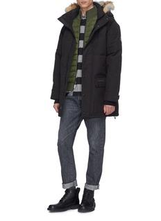 Canada Goose HyBridge绗缝羽绒正面美丽诺羊毛针织外套