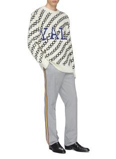 Calvin Klein 205W39NYC x Yale University学校名称几何条纹oversize针织衫