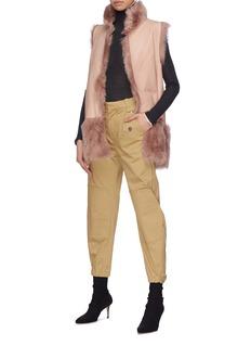KARL DONOGHUE 两面穿拼接设计小羊皮毛一体马甲