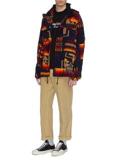 SACAI x Pendleton几何图案灯芯绒派克大衣