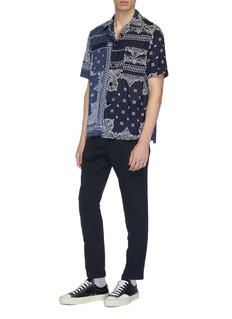 SACAI 民族风图案拼色短袖衬衫