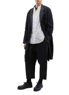 ZIGGY CHEN 拼色细节亚麻混棉皱感大衣