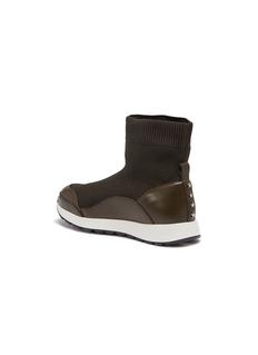 WiNK Liquorice儿童款真皮拼接针织高筒运动鞋