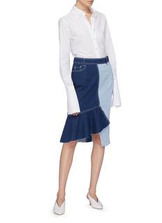 COMME MOI 不对称设计拼色牛仔半裙