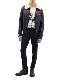 Gucci Guccy城市名称及骑士印花T恤