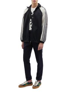 GUCCI GG标志侧条纹拼色oversize夹克