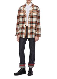 Gucci 条纹翻折裤脚口直脚牛仔裤