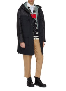 GUCCI 双G品牌标志拼接夹棉连帽派克大衣