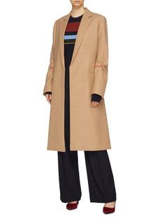 Victoria Beckham 缎面枪驳领双排扣初剪羊毛大衣