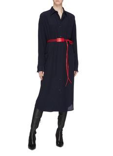 Victoria Beckham 小羊皮腰带真丝衬衫裙