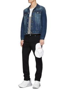Alexander McQueen 拼接设计品牌名称刺绣修身牛仔裤