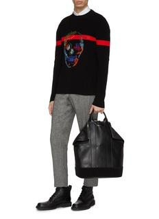 Alexander McQueen 多彩骷髅头刺绣条纹针织衫