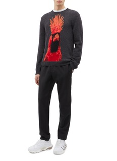 Valentino 雀鸟图案初剪羊毛混羊绒针织衫