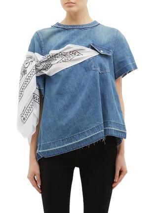 首图 - 点击放大 - sacai - 民族风布饰拼接牛仔上衣