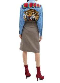 Gucci 老虎刺绣徽章oversize牛仔衬衫