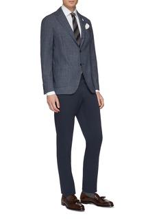 Lardini Easy Wear可收纳式细格纹羊毛西服外套