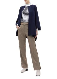 CHLOÉ 蕾丝效果条纹高领针织衫