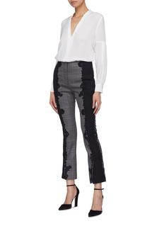 Jonathan Simkhai 拼接设计蕾丝格纹露踝裤