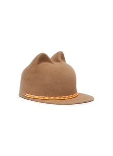 MAISON MICHEL Jamie编织绳猫耳造型兔毛毡棒球帽