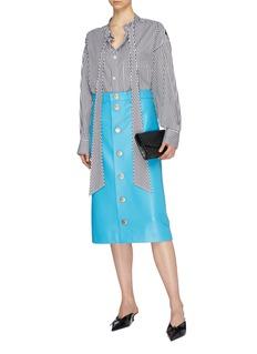 BALENCIAGA New Swing品牌名称系带领条纹衬衫