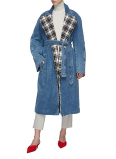 Balenciaga 系带格纹内衬牛仔夹棉风衣