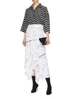 BALENCIAGA logo条纹不对称褶裥半裙